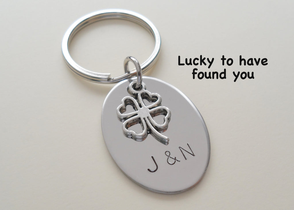Personalized Steel Oval Keychain Hand Stamped with Couples Initials with Clover Charm; Couples Keychain, Customized