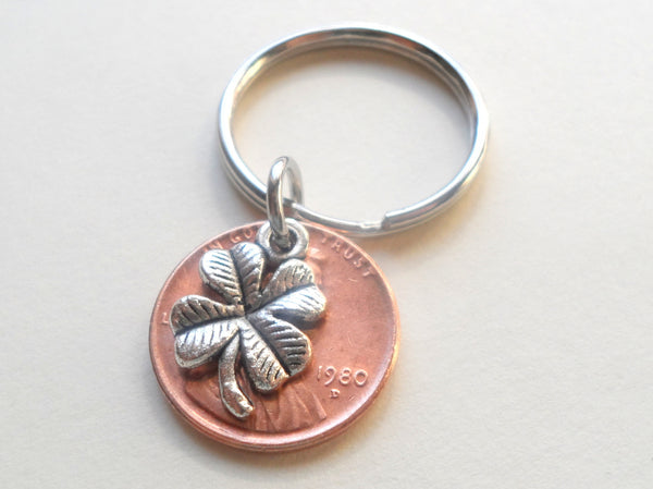 Clover Charm Layered Over 1980 Penny Keychain; 40 Year Anniversary Gift, Birthday Gift, Couples Keychain