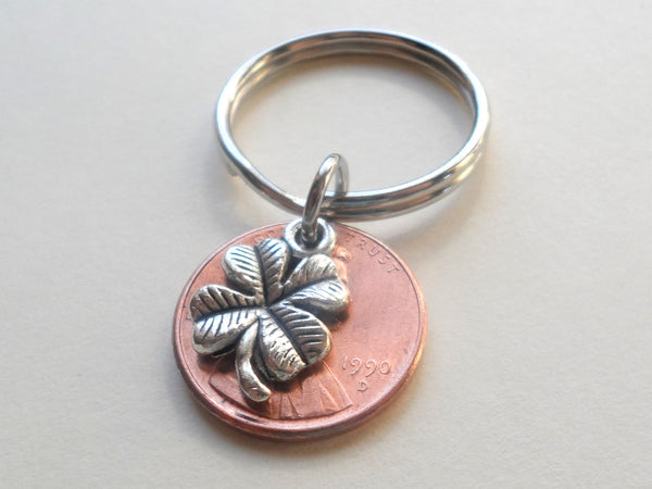 Clover Charm Layered Over 1990 Penny Keychain; 30 Year Anniversary Gift, Birthday Gift, Couples Keychain