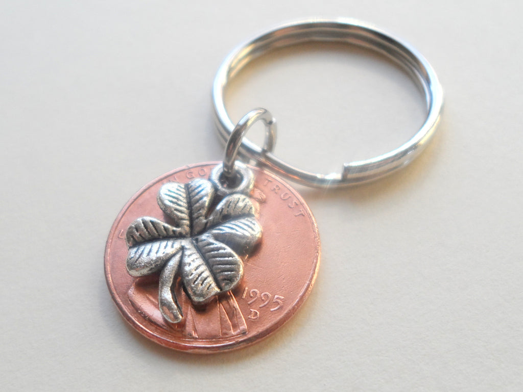 Clover Charm Layered Over 1995 Penny Keychain; 23 Year Anniversary Gift, Birthday Gift, Couples Keychain