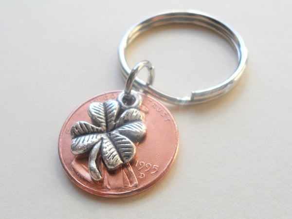 Clover Charm Layered Over 1995 Penny Keychain; 25 Year Anniversary Gift, Birthday Gift, Couples Keychain