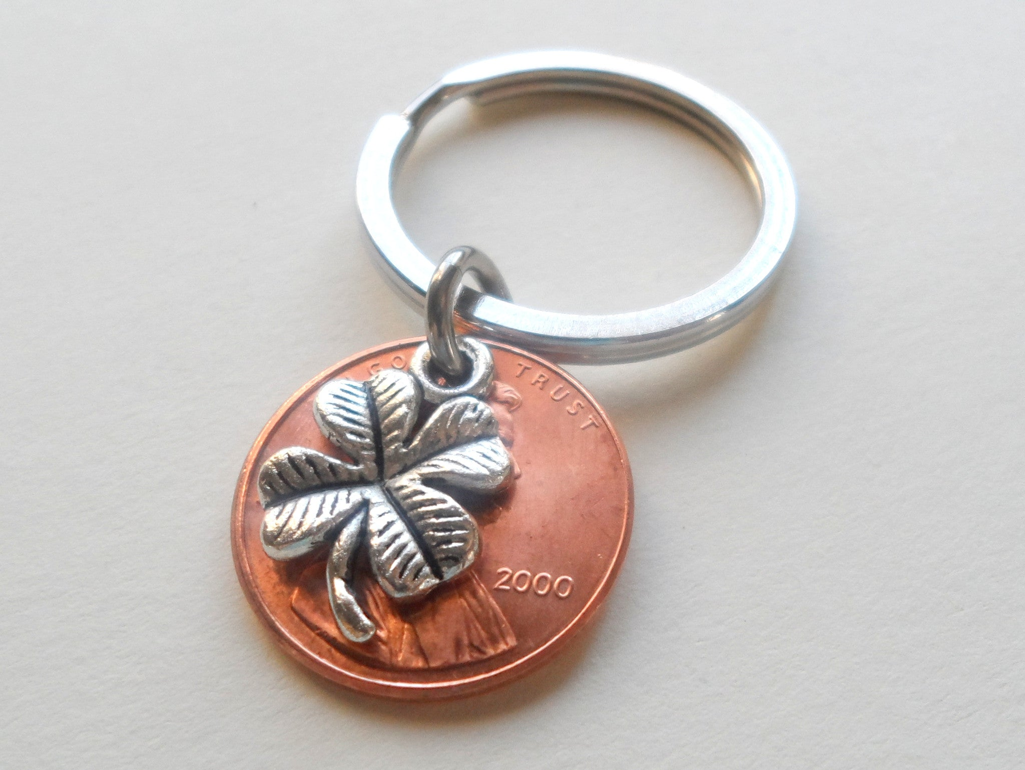 Clover Charm Layered Over 2000 Penny Keychain