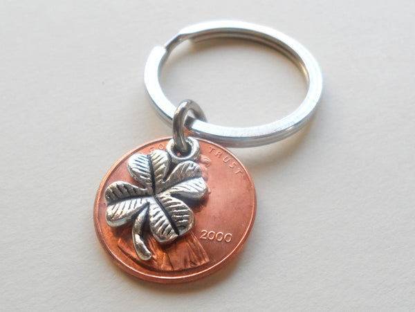 Clover Charm Layered Over 2000 Penny Keychain; 20th Year Anniversary Gift, Birthday Gift, Couples Keychain