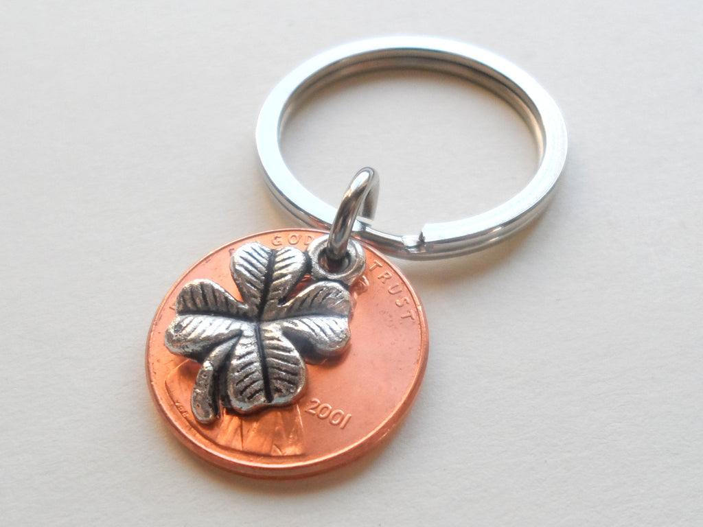 Clover Charm Layered Over 2001 Penny Keychain; 19 Year Anniversary Gift, Birthday Gift, Couples Keychain
