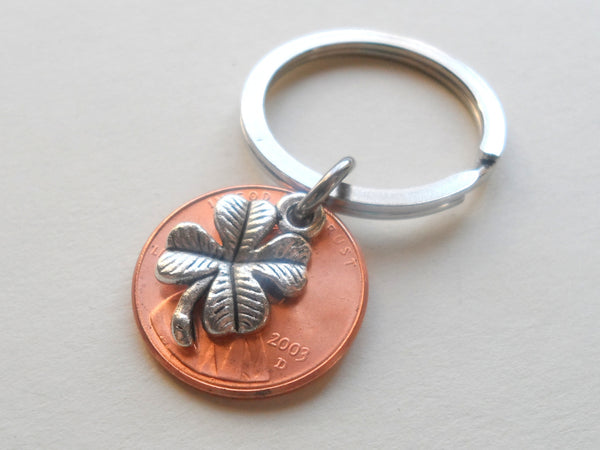 Clover Charm Layered Over 2003 Penny Keychain; 14 Year Anniversary Gift, Birthday Gift, Couples Keychain