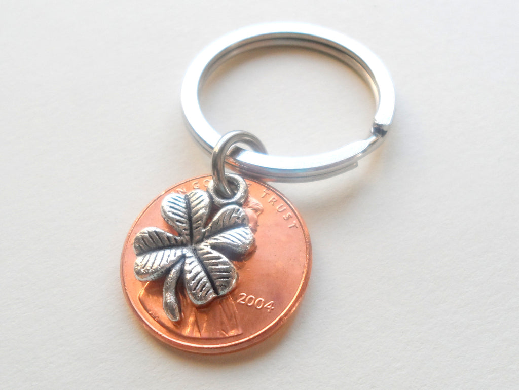 Clover Charm Layered Over 2004 Penny Keychain; 14 Year Anniversary Gift, Birthday Gift, Couples Keychain