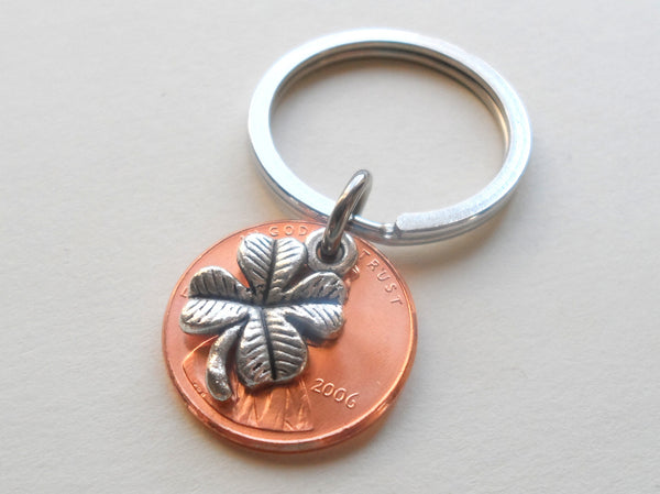 Clover Charm Layered Over 2006 Penny Keychain; 14 Year Anniversary Gift, Birthday Gift, Couples Keychain