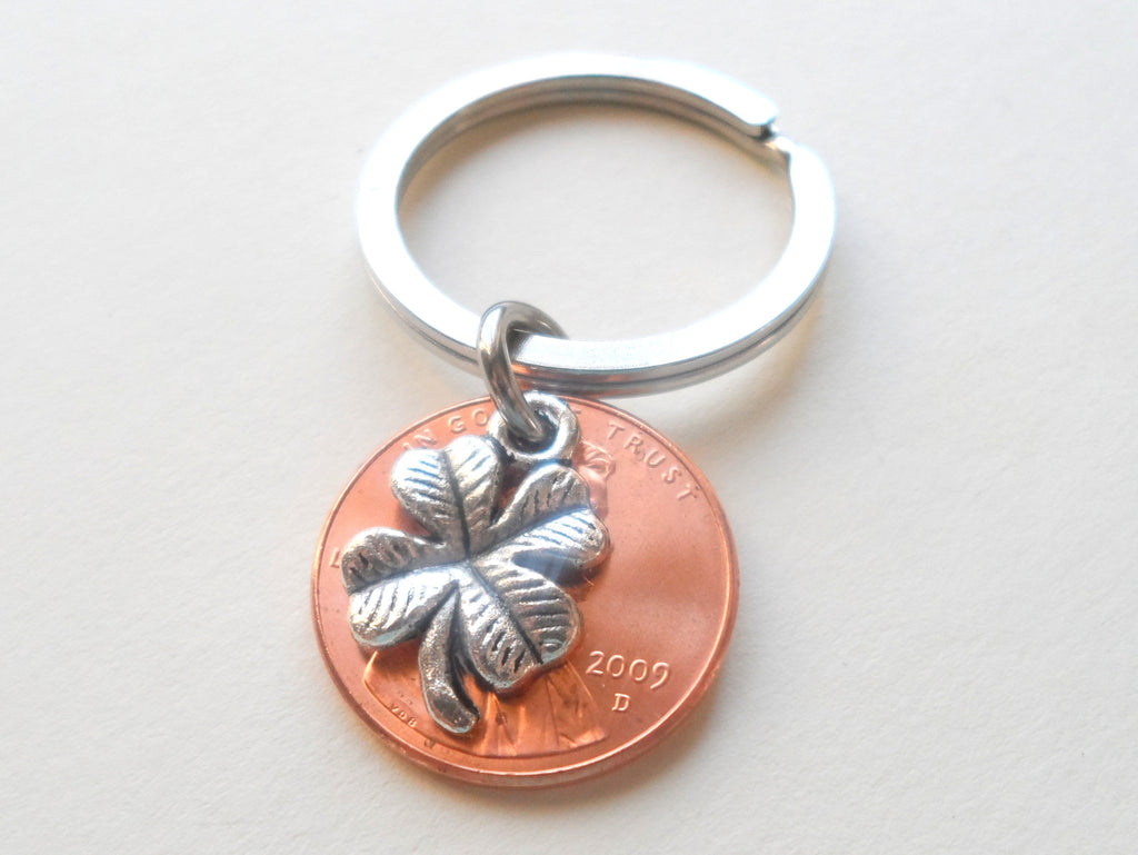 Clover Charm Layered Over 2009 Penny Keychain; 11 Year Anniversary Gift, Birthday Gift, Couples Keychain