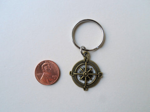 Bronze Open Metal Compass Keychain