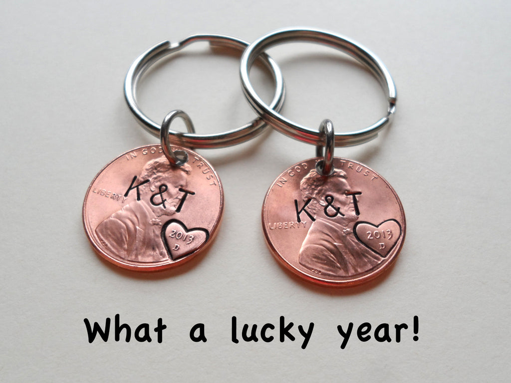 Personalized Double Set Penny Keychains Hand Stamped with Custom Initials and Heart Around The Year with Options for Adding a Date