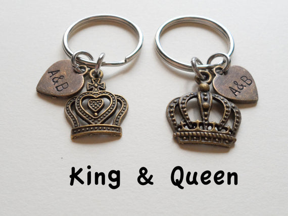 Bronze King and Queen Crown Keychain Set Personalized- King & Queen; Couples Keychain Set