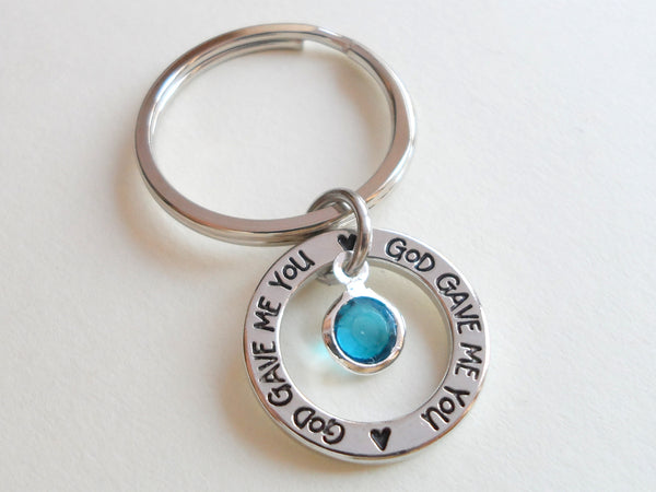 December Birthstone with Circle Ring God Gave Me You Keychain; Handbag Charm