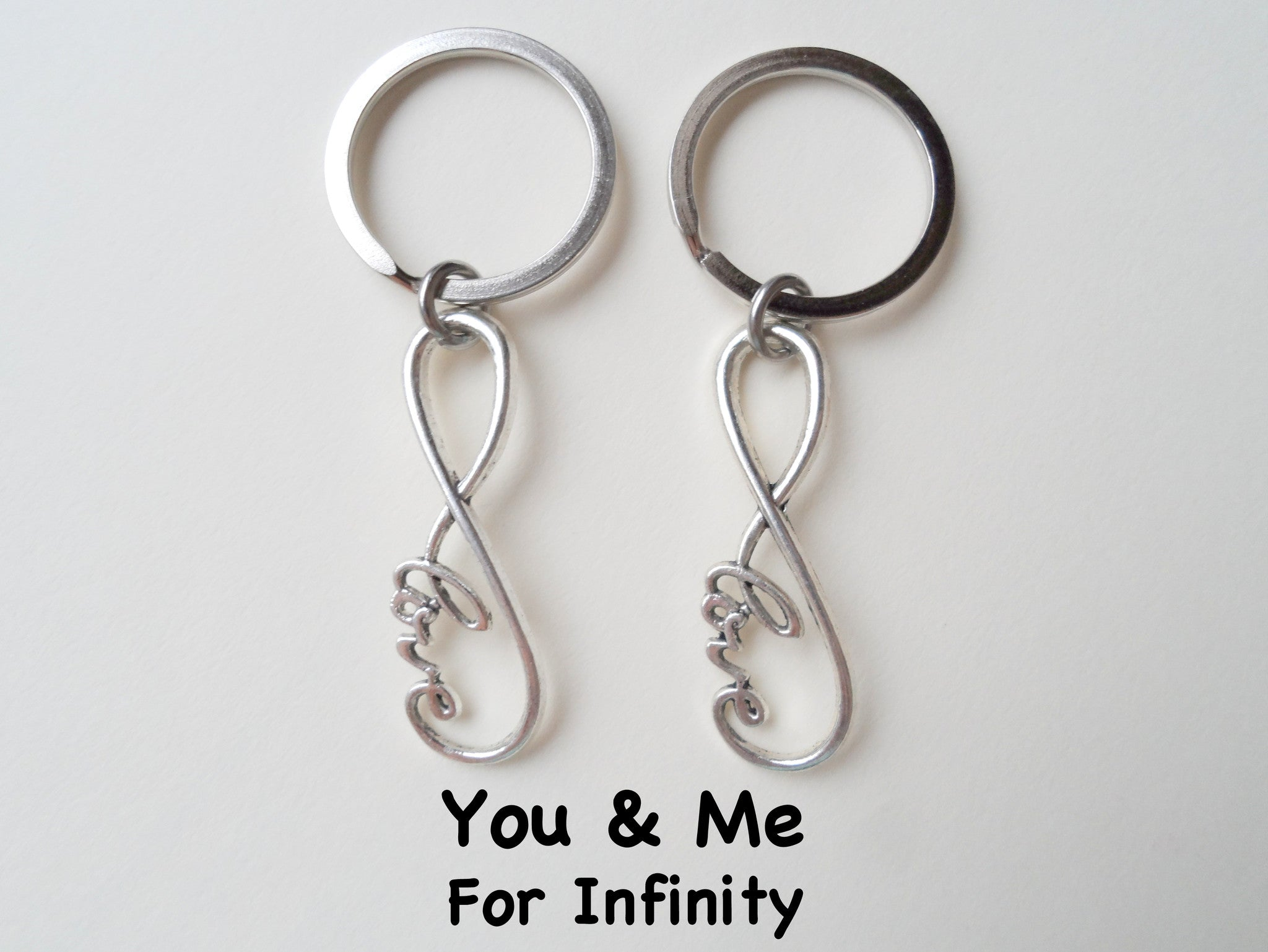 Double keychain set infinity love symbol keychain jewelryeveryday double keychain set infinity love symbol keychain you and me for infinity couples keychain biocorpaavc Gallery