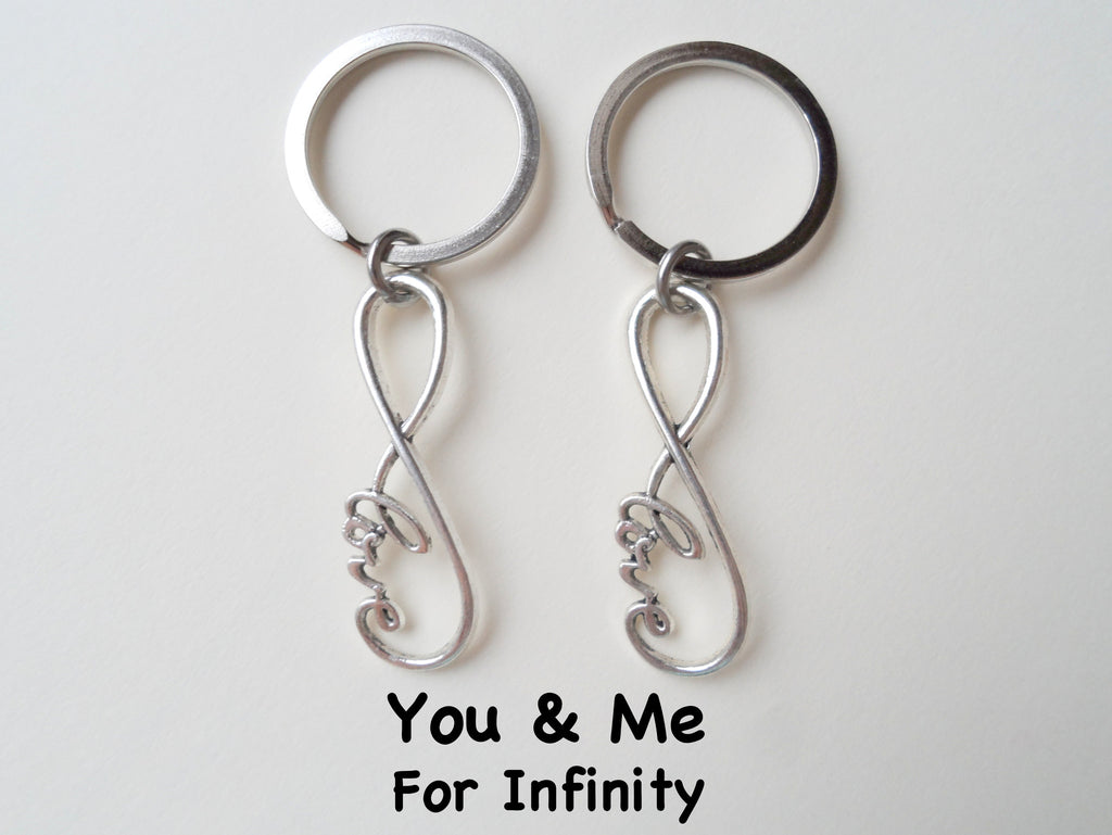 Double Keychain Set Infinity Love Symbol Keychain - You And Me For Infinity; Couples Keychain Set