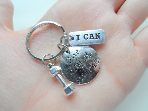 """I can"" &""One Day At A Time"" Fitness Encouragement Keychain with Weight Charm, Health Keychain by JewelryEveryday"