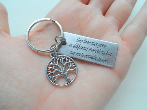 Family Tree Keychain With Engraved Saying Rectangle Tag, Family Reunion Gift