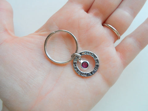 February Birthstone with Circle Ring God Gave Me You Keychain; Handbag Charm