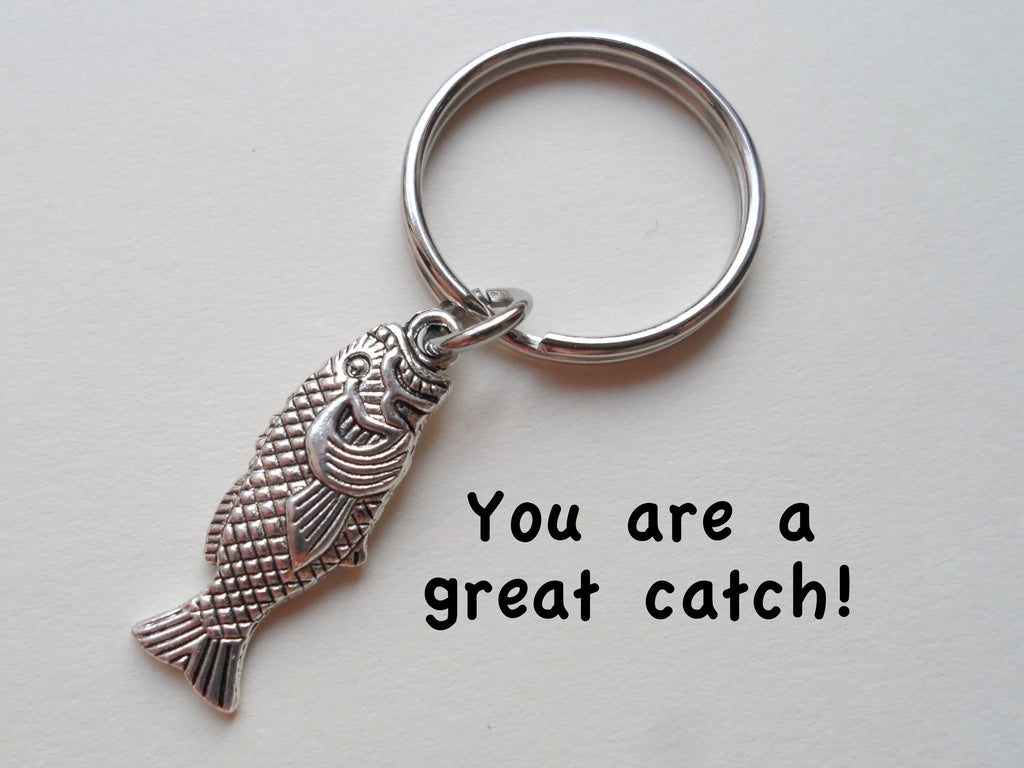 Silver Bass Fish Keychain - You Are A Great Catch; Couples Keychain