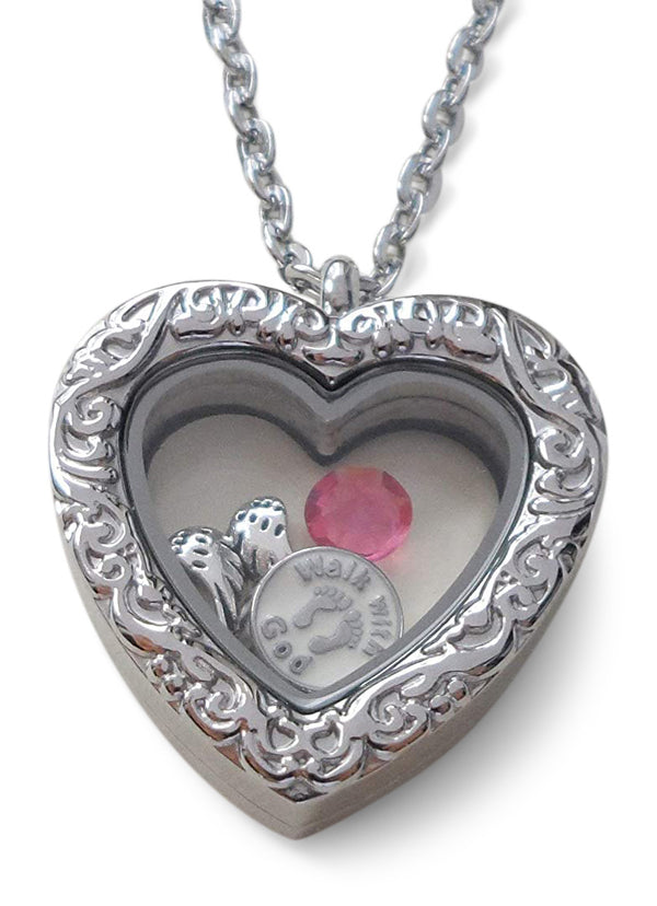 "Personalized ""Forever in My Heart"" Stainless Steel Small Heart Locket Necklace for Baby Loss Memorial - by Jewelry Everyday"