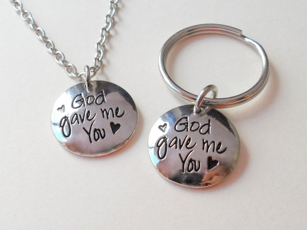 God Gave Me You Necklace and Keychain Set; Couples Keychain Set