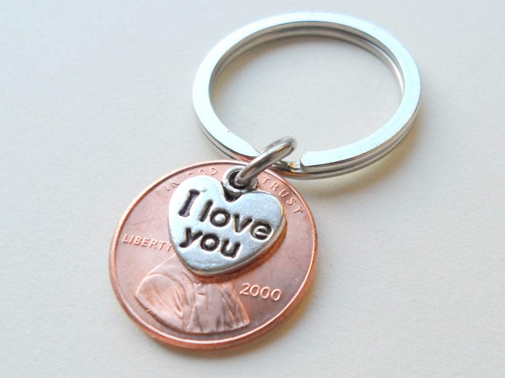 I Love You Heart Charm Layered Over 2000 Penny Keychain; 18th Year Anniversary Gift, Couples Keychain