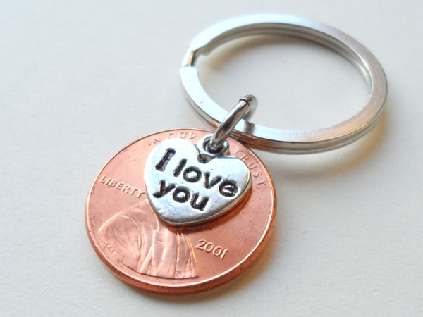 "17 Year Anniversary Gift • 2001 Penny Keychain w/ ""I Love You"" Heart Charm by Jewelry Everyday"