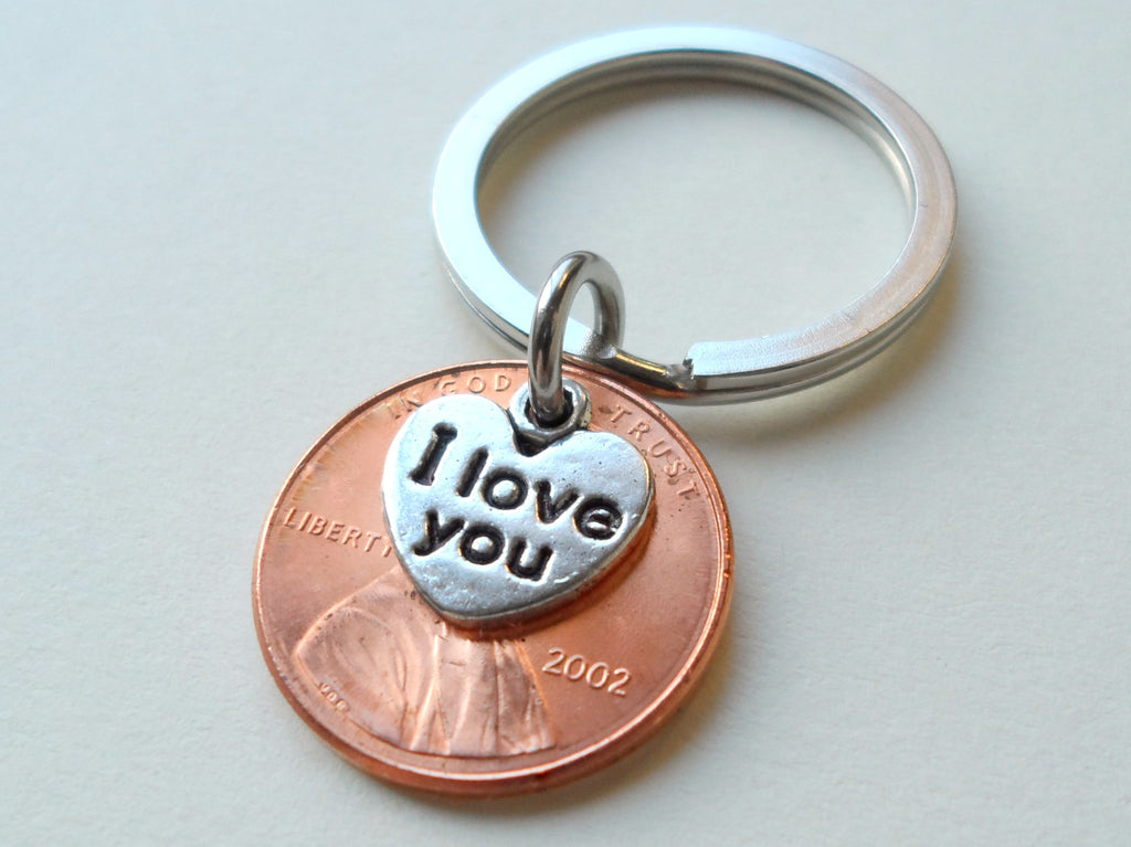 "2002 Penny Keychain • 18-year Anniversary Gift w/ ""I Love You"" Heart Charm from JE"