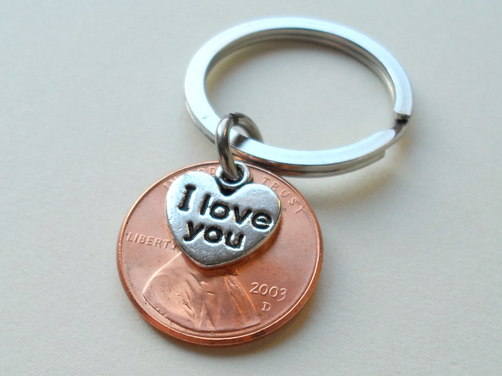 "2003 Penny Keychain • 17-year Anniversary Gift w/ ""I Love You"" Heart Charm from JE"