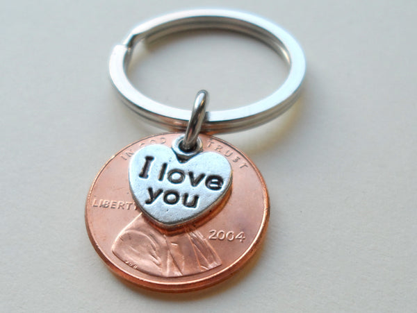 "2004 Penny Keychain • 16-year Anniversary Gift w/ ""I Love You"" Heart Charm from JE"