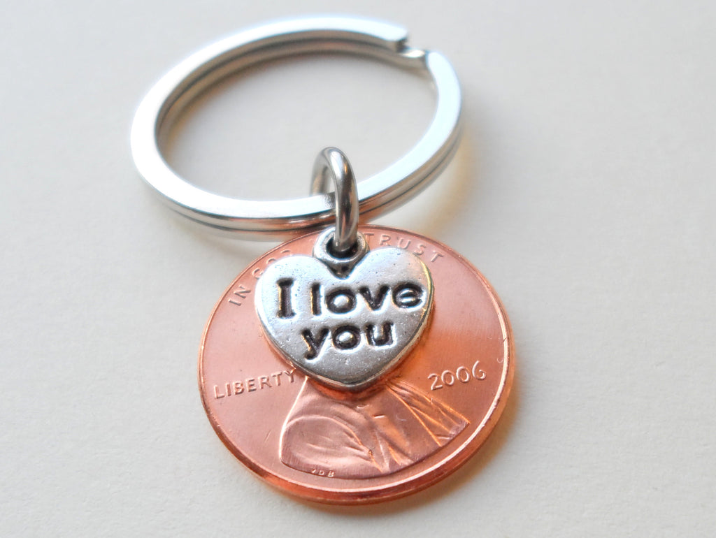 "2006 Penny Keychain • 13-year Anniversary Gift w/ ""I Love You"" Heart Charm from JE"