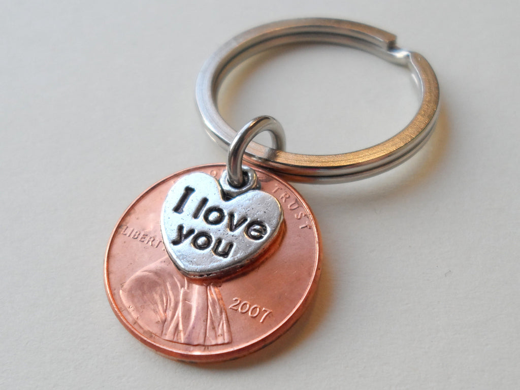 I Love You Heart Charm Layered Over 2007 Penny Keychain; 12 Year Anniversary Gift, Couples Keychain