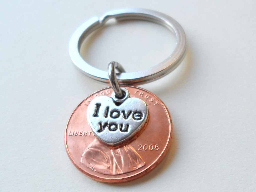 "2008 Penny Keychain • 11-year Anniversary Gift w/ ""I Love You"" Heart Charm from JE"