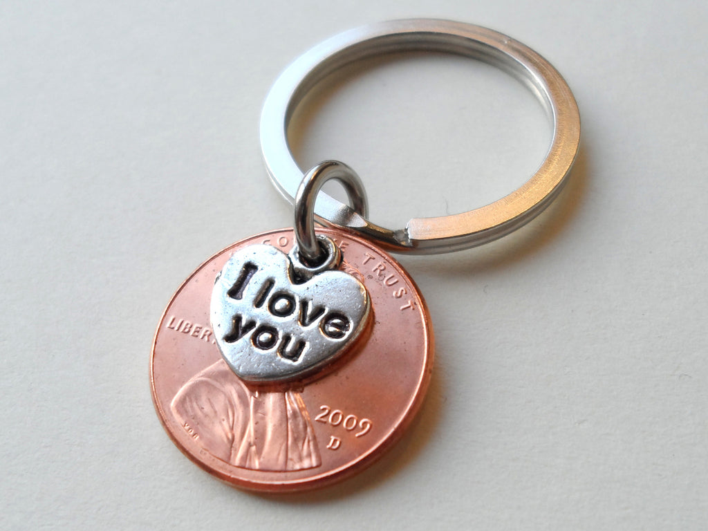 I Love You Heart Charm Layered Over 2009 Penny Keychain; 9 Year Anniversary Gift, Couples Keychain