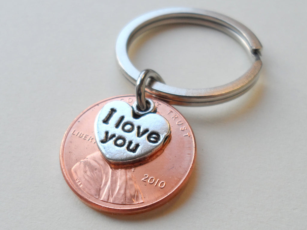 "10 Year Anniversary Gift • 2010 Penny Keychain w/ ""I Love You"" Heart Charm by Jewelry Everyday"