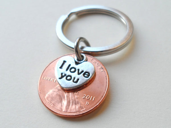 "2011 Penny Keychain • 9-year Anniversary Gift w/ ""I Love You"" Heart Charm from JE"
