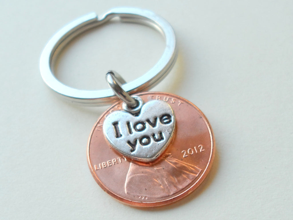 "2012 Penny Keychain • 8-year Anniversary Gift w/ ""I Love You"" Heart Charm from JE"