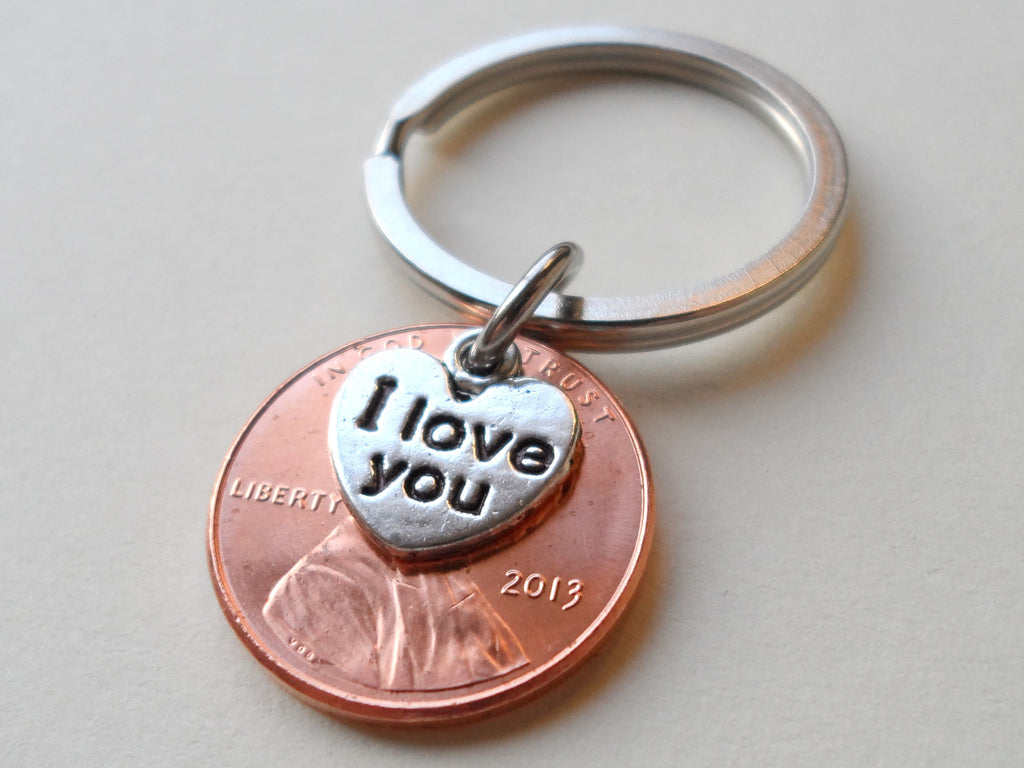 "2013 Penny Keychain • 7-year Anniversary Gift w/ ""I Love You"" Heart Charm from JE"