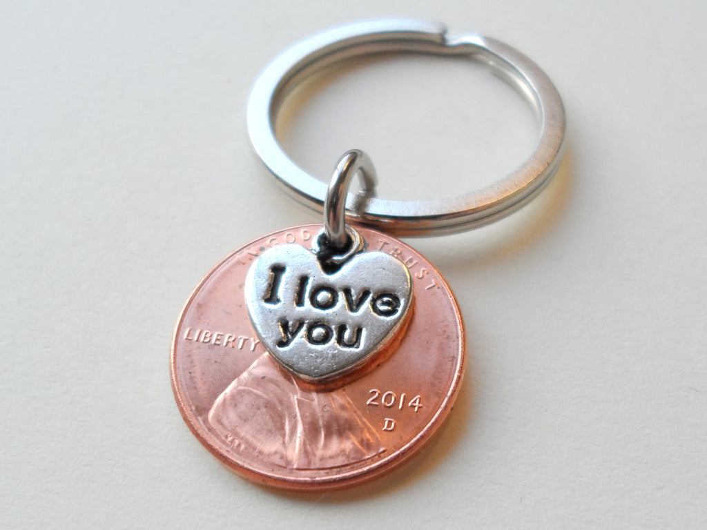 "2014 Penny Keychain • 6-year Anniversary Gift w/ ""I Love You"" Heart Charm from JE"