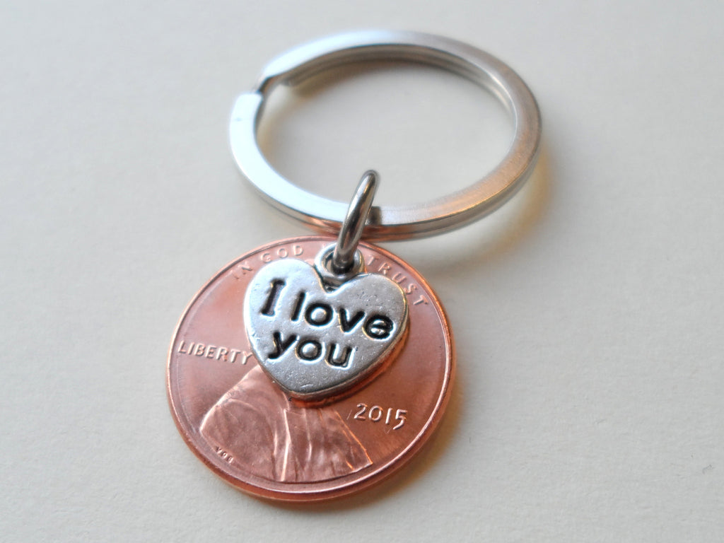 "2015 Penny Keychain • 5-year Anniversary Gift w/ ""I Love You"" Heart Charm from JE"