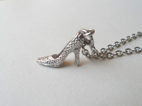 Princess Slipper Shoe Charm Necklace, High Heel Shoe Necklace