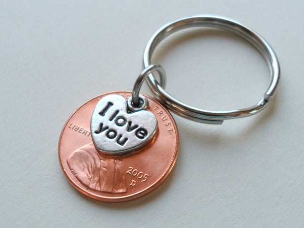 "2005 Penny Keychain • 15-year Anniversary Gift w/ ""I Love You"" Heart Charm from JE"