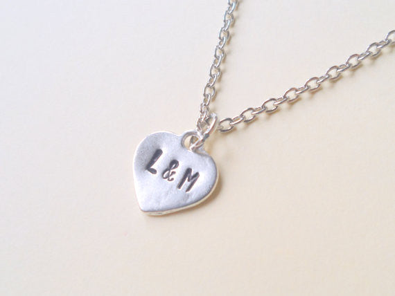 Personalized Hand Stamped Heart Necklace With Initials