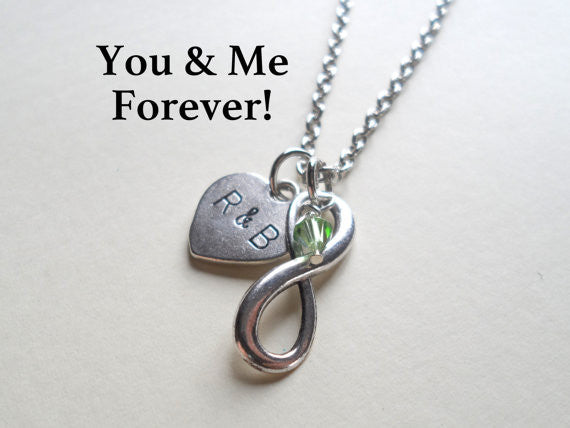 Infinity Symbol Necklace; Brithstone Necklace - You And Me Forever