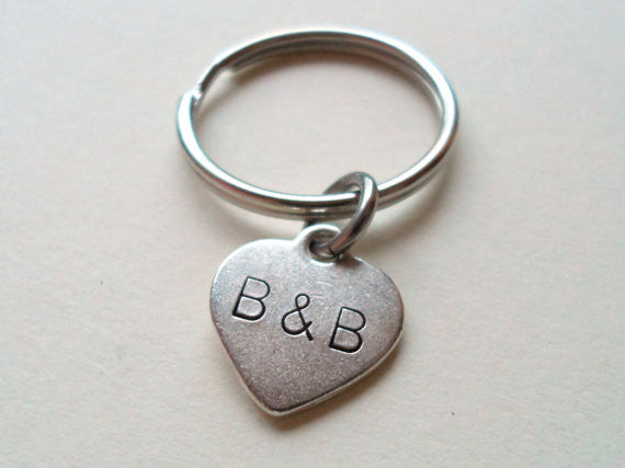 Personalized Hand Stamped Small Heart Keychain With Custom Initials