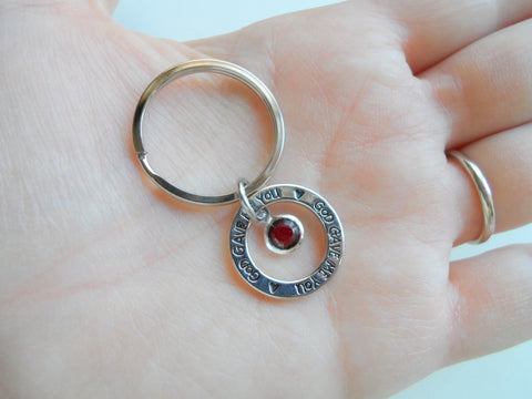 January Birthstone with Circle Ring God Gave Me You Keychain; Handbag Charm