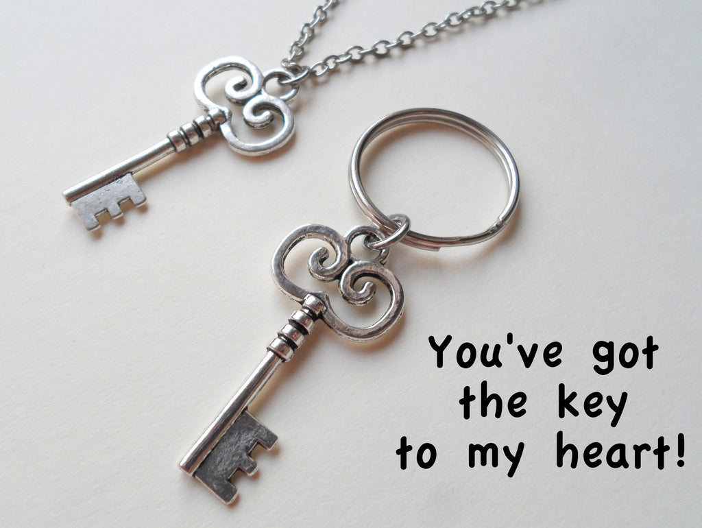 Key Charm Necklace and Keychain Set