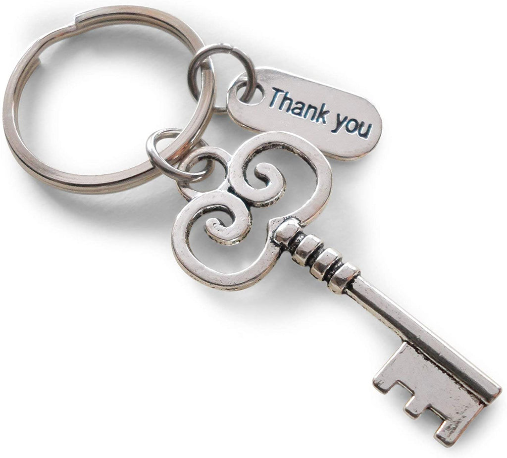 "Employee Appreciation Gifts • ""Thank You"" Tag & Silver Key Keychain by JewelryEveryday w/ ""You are a key part of our team!"" Card"