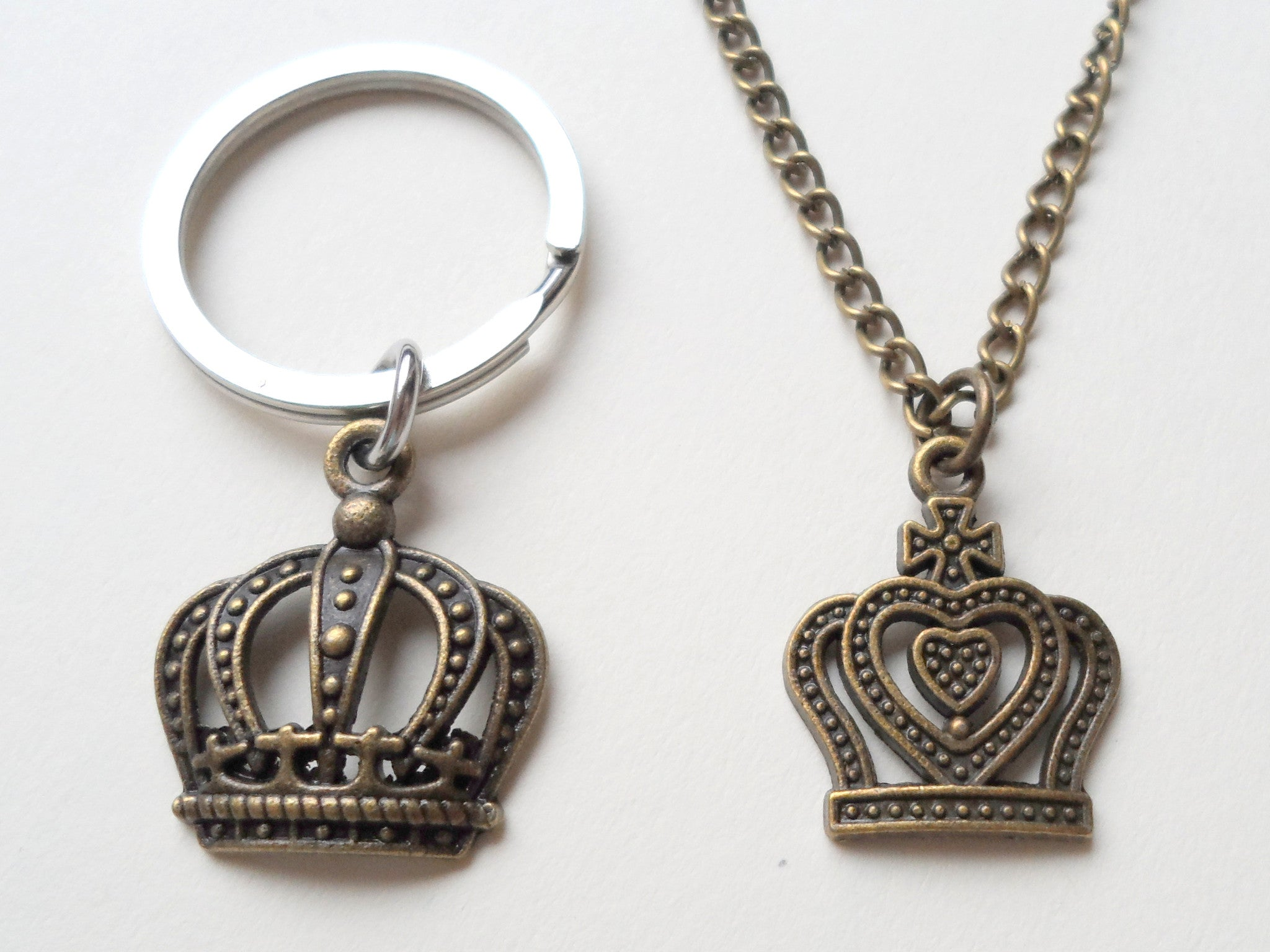 King And Queen Crown Necklace Keychain Set Jewelryeveryday