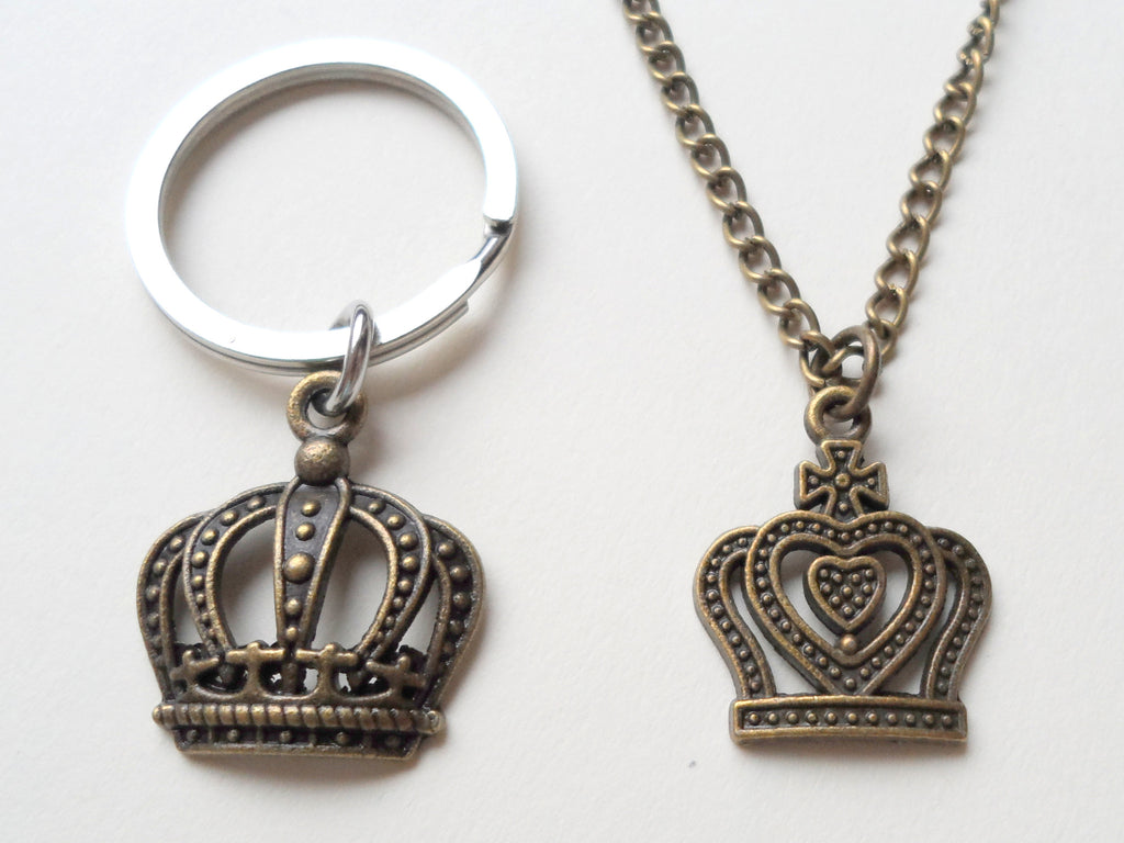 King And Queen Crown Necklace & Keychain Set