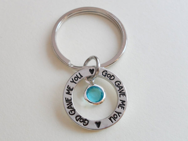 March Birthstone with Circle Ring God Gave Me You Keychain; Handbag Charm